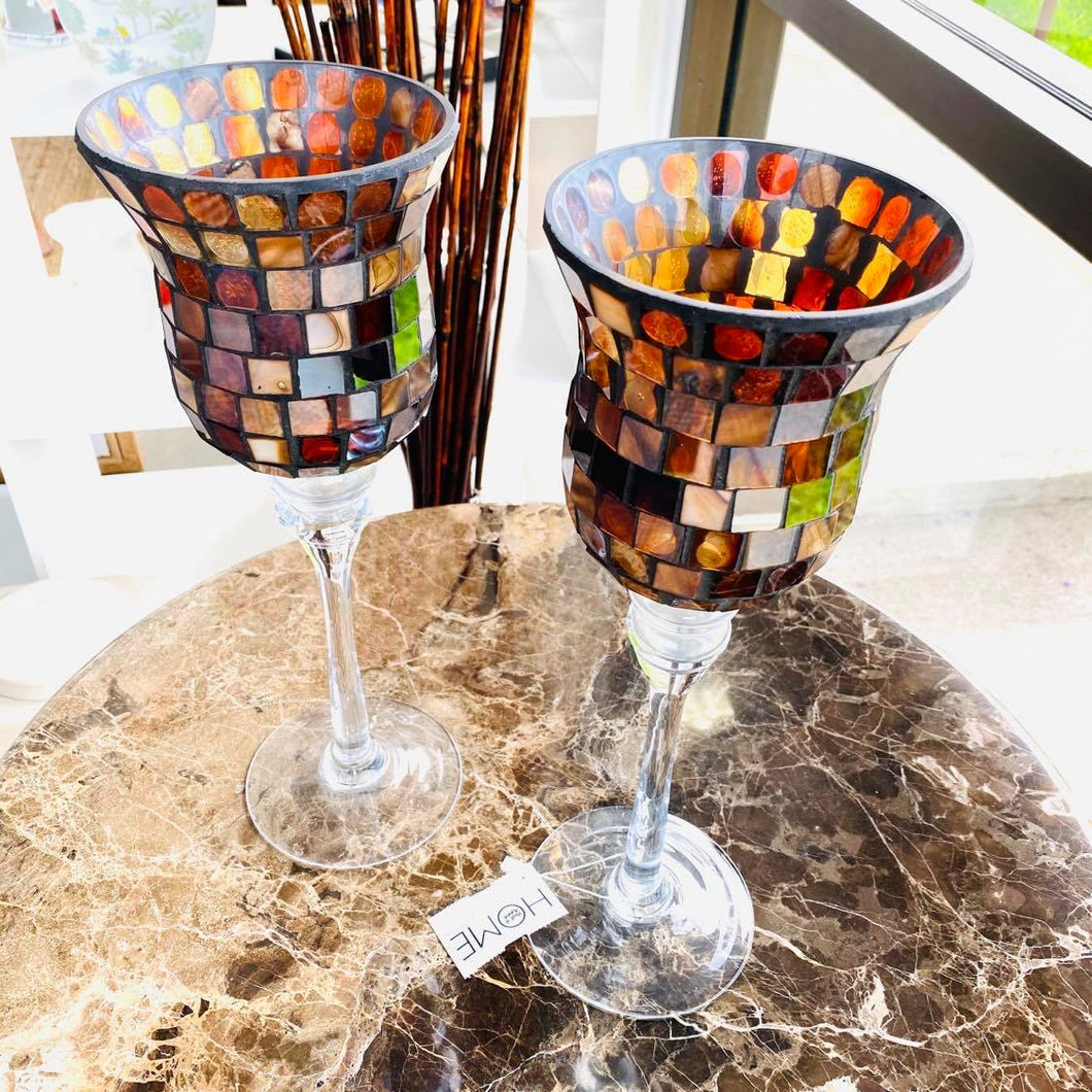 Set Of 2 Terra Mosaic Glass Tile Hurricane Candle Holders