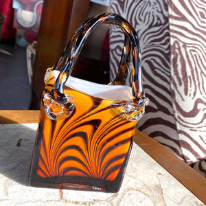 Tiger Pattern Blown Glass Basket Purse