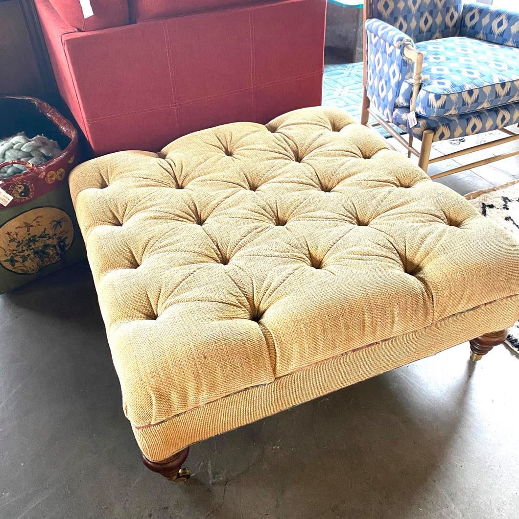 Large Yellow Sherrill Ottoman with Wooden Feet and Casters