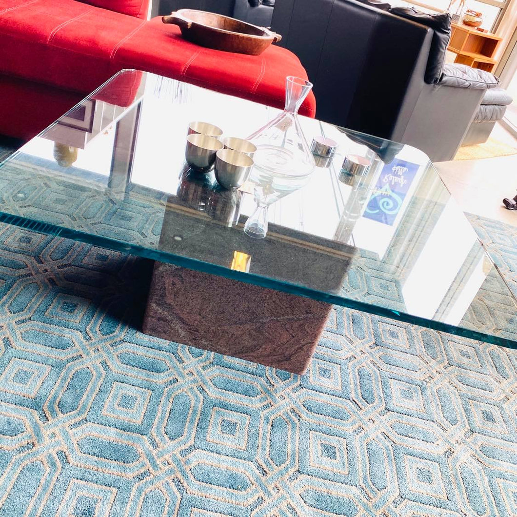 Heavy Square Glass Top Marble Base Coffee Table