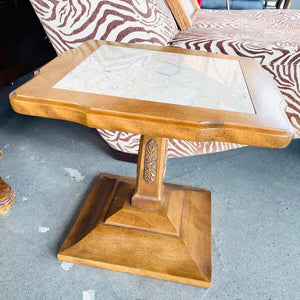 Small Wood Table With Marble Top