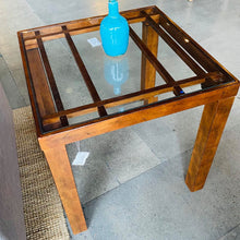 Load image into Gallery viewer, Wood Inlay Cross Pattern Glass Top End Table