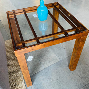 Wood Inlay Cross Pattern Glass Top End Table
