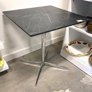 Black Square Top Stone Table With Metal Base