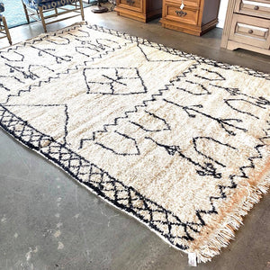 Large Vintage White and Black Wool Bohemian Chic Moroccan Rug