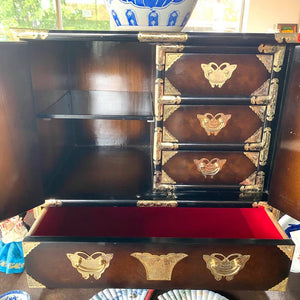 Chinese Hardwood Brass Detail Cabinet *reduced