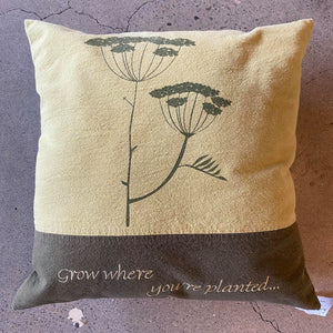 Grow Where You're Planted Two Tone Green Pillow