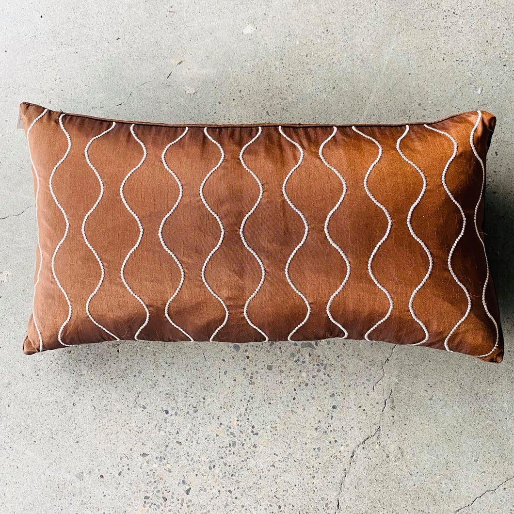 Brown With Piping Down Throw Rectangle Pillow