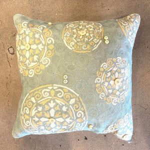 Muted Tone Floral Shimmer Throw Pillow w/ Detailed Buttons