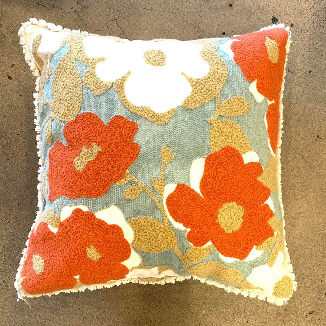 Woven Coral And White Flower Pillow