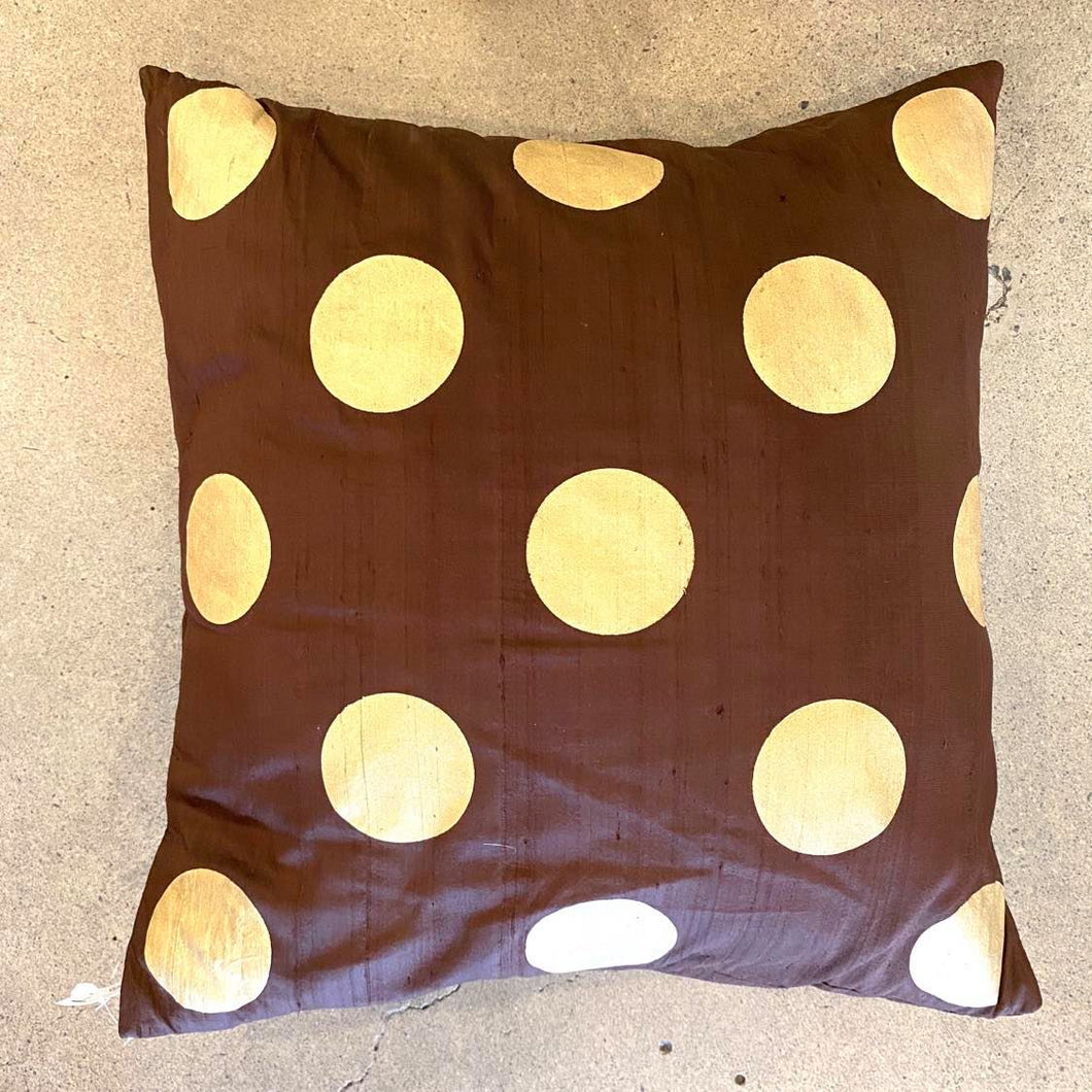 Brown With Gold Polka Dots Pillow - Each