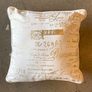 White and Gold French Writing Pillow - Each