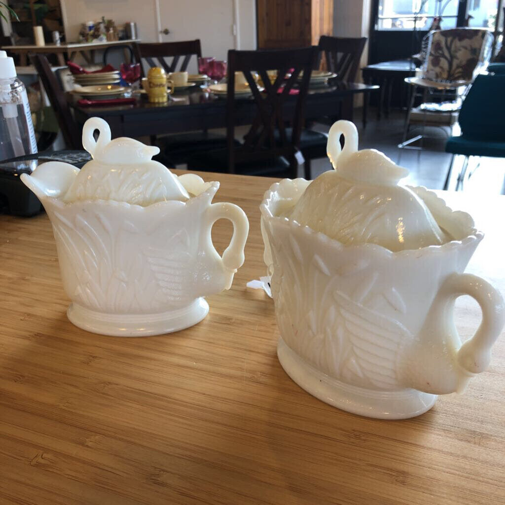 Westmoreland Milk Glass Swan Sugar And Creamer