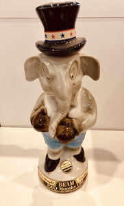 Vintage 1964 Political Jim Beam Elephant With Boxing Gloves Decanter