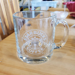 Starbucks Clear Glass Etched Mug