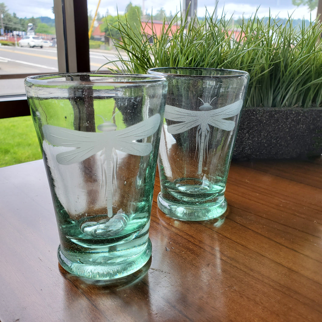 Set of 2 Hand Blown Dragonfly Etched Glasses
