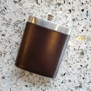 Stainless Steel Flask with Faux Leather Sleeve