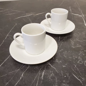 Set of 2 Espresso Cups with Saucers