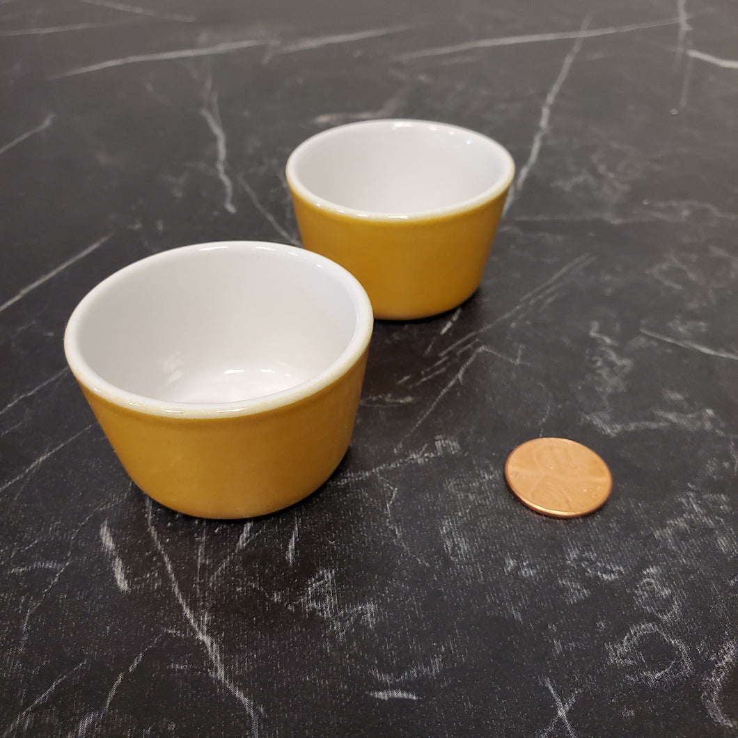 Set of 2 Yellow Porcelain Condiment Cups