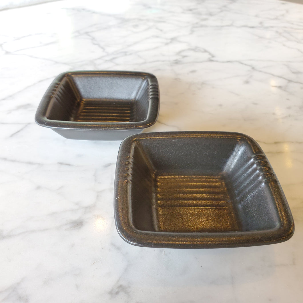 Set of 2 Square Grey Ceramic Soy Sauce Dishes