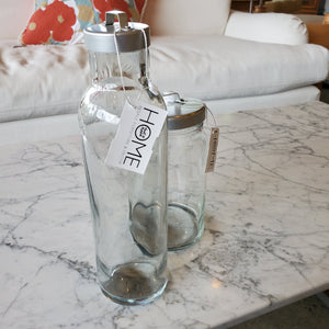 Tall Clear Glass Vessel with Metal Air Sealing Lid