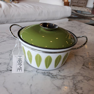 Vintage Cast Iron Green and White Dutch Oven