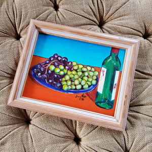 Jimmy Moore Local Artist Painting of Grapes and Wine Bottle