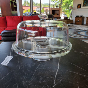 Multi Use Glass Cake Stand/ Chip and Dip Tray with Lid