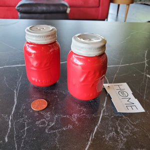 Red Mason Jar Salt and Pepper Shakers
