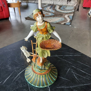 Antique Iron Woman Lamp with New Funky Shade