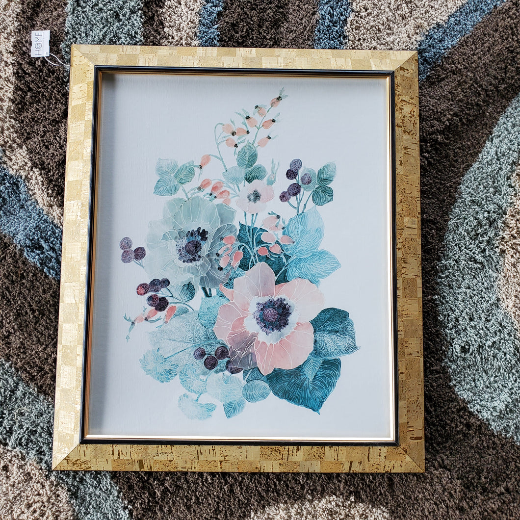 Colorful Flower Print with Gold and Cork Frame