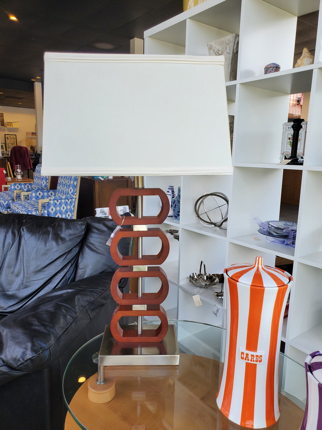 Modern Metal and Wood Side Table Lamp with Boxy Cream Shade