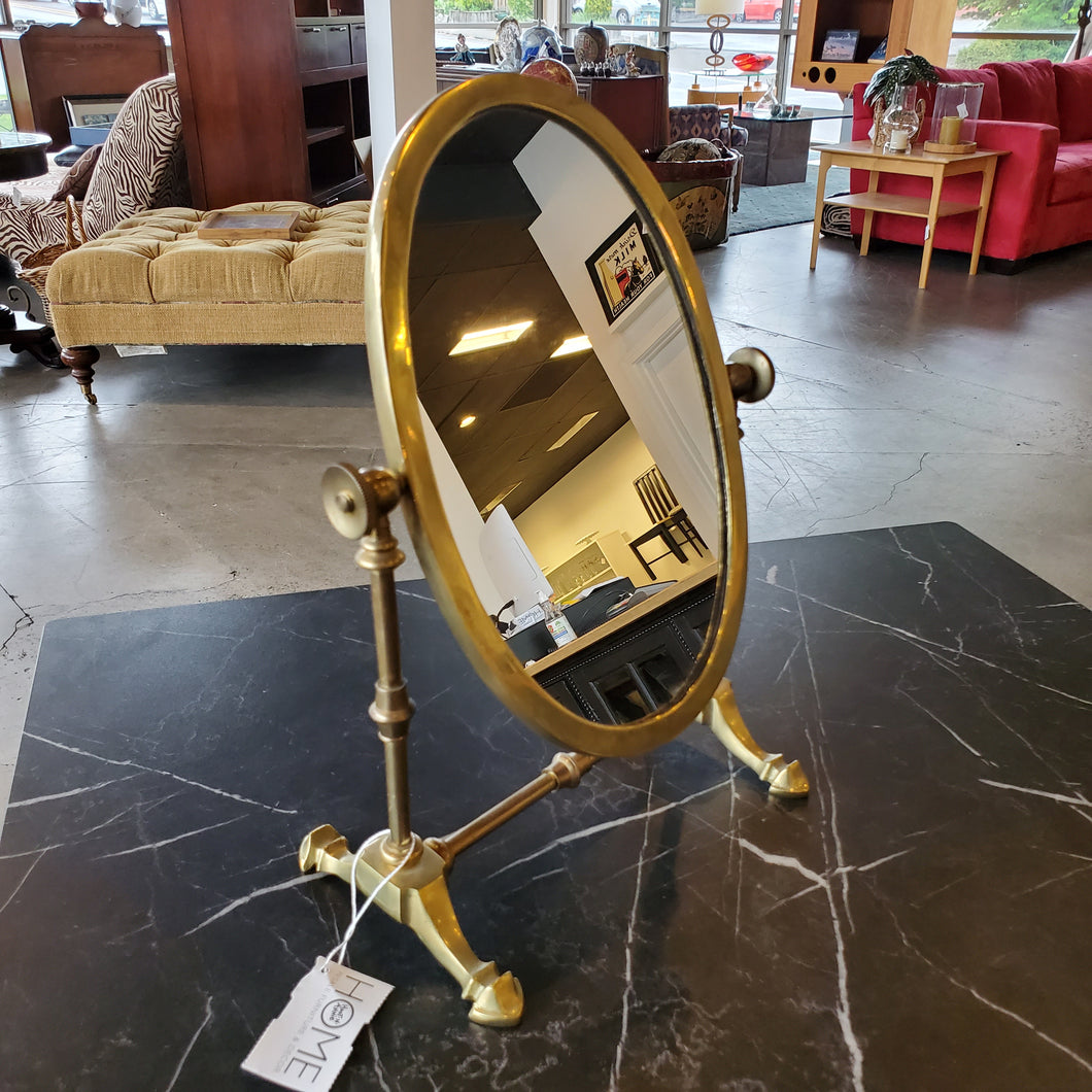 Antiqued Brass Makeup Mirror