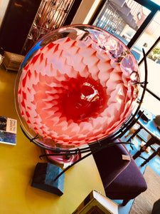 Antonius Studio Red Blown Glass Platter with Metal Armature