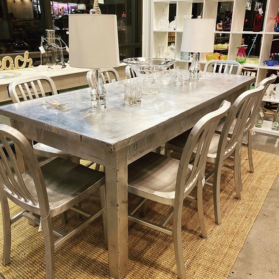 Custom Locally Made Pounded Tin Dining Table or Large Desk