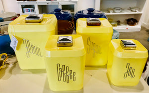1950's Lustroware Yellow Canister Set