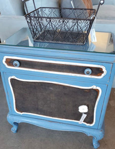 Set of 2 Blue Shabby Chic End Tables with Glass Top