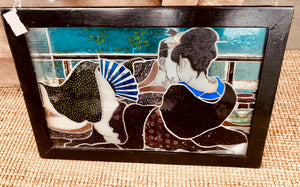 Framed Stained Glass Kissing Geisha