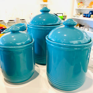 Set of 3 Teal Ceramic Kitchen Canisters