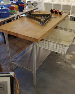 Boos Butcher Block with Stainless Steel Base and Pull Out Wire Drawers
