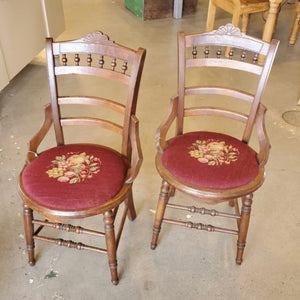 Antique Needle Point Chairs - Each