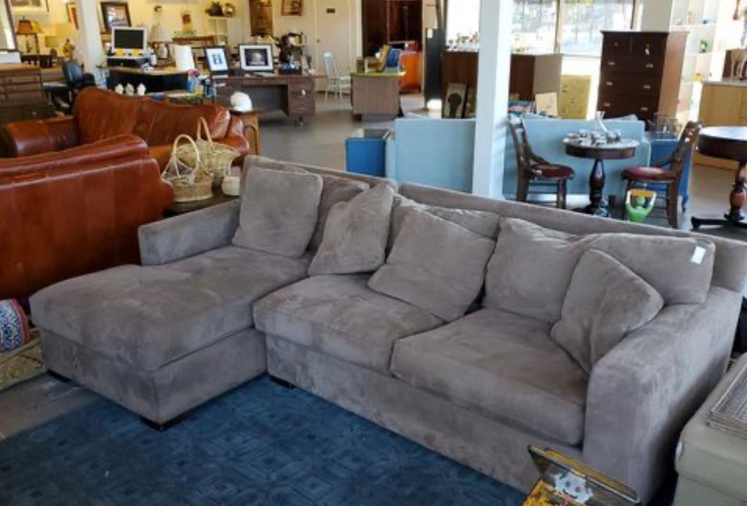 Crate and Barrel Down Ultra Suede Sectional Couch