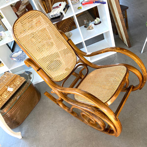 Curved Cane Webbing Rocking Chair