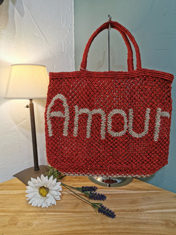 Panier The Jacksons Amour Rouge brodé beige
