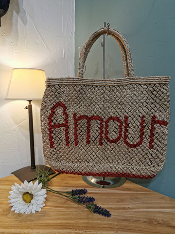 Panier The Jacksons Amour beige brodé rouge