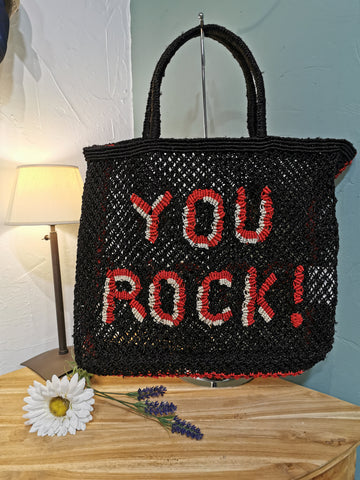 Panier The Jacksons You Rock ! Noir brodé rouge et beige