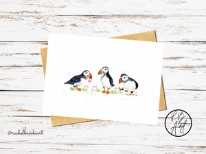 Puffin Parade Watercolour Blank Greetings Card