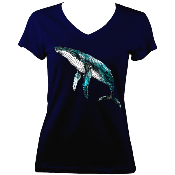 Humpback Whale Ladies V Neck Tee