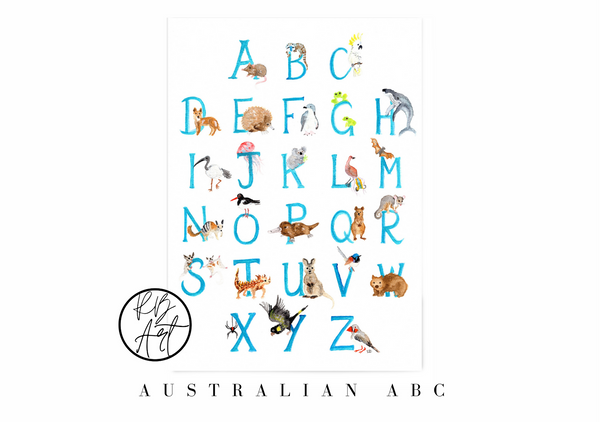 Australian Animal Alphabet by Rachel Brooks Art