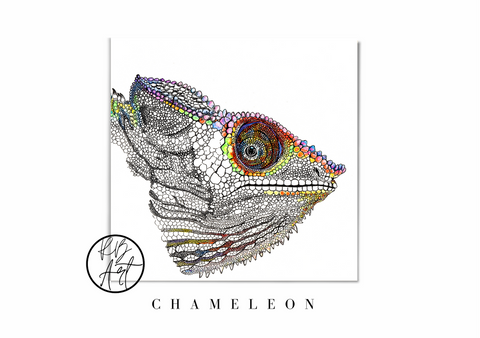 Chameleon Square Print by Rachel Brooks Art